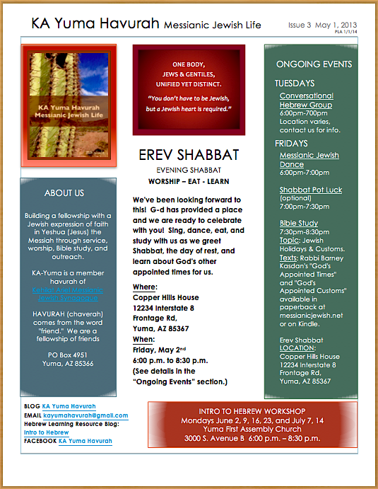 KA Yuma Havurah May 2-14 Newsletter