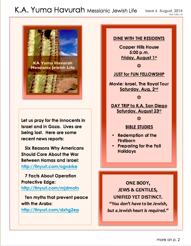 KA Yuma AUG 2014 Newsletter page 1