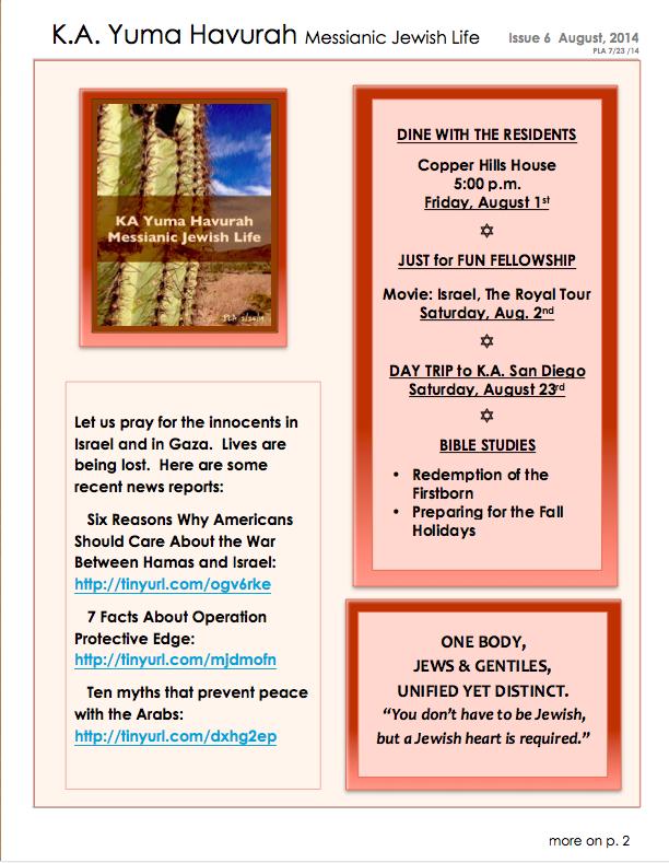 KA Yuma AUG 2014 Newsletter page 1