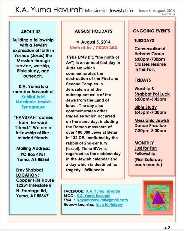 KA Yuma AUG 2014 Newsletter page 2