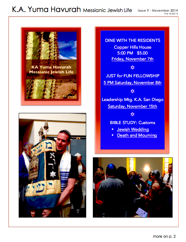 K.A. Yuma Havurah November Newsletter 2014_p.1