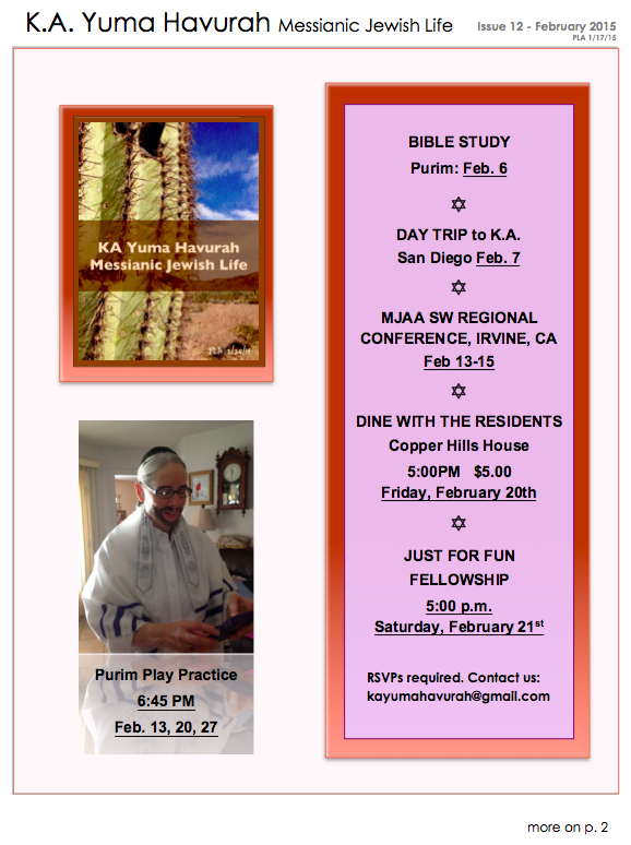 KA Yuma FEB 2015 Newsletter - 1