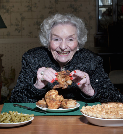 Mary Pyland, 92, eats fried chicken in, and caramel pie is her favorite, in Abilene, Texas.